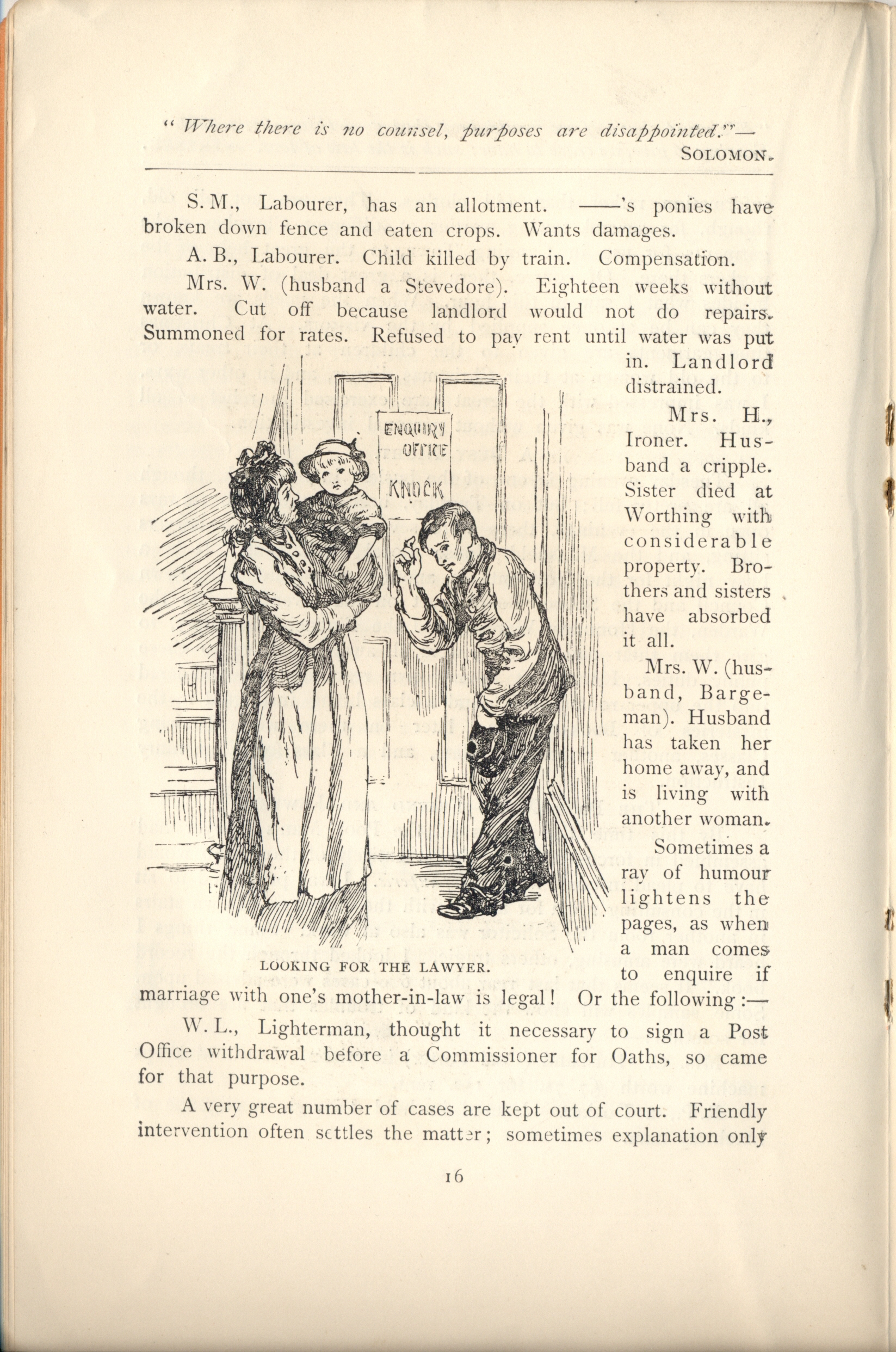 A yellowing page of a 1900s pamphlet. In the centre, a pen and ink drawing shows a woman holding a child and a man bowing slightly to them, outside a door marked 'Enquiry Office – Knock'. Around the drawing is text.