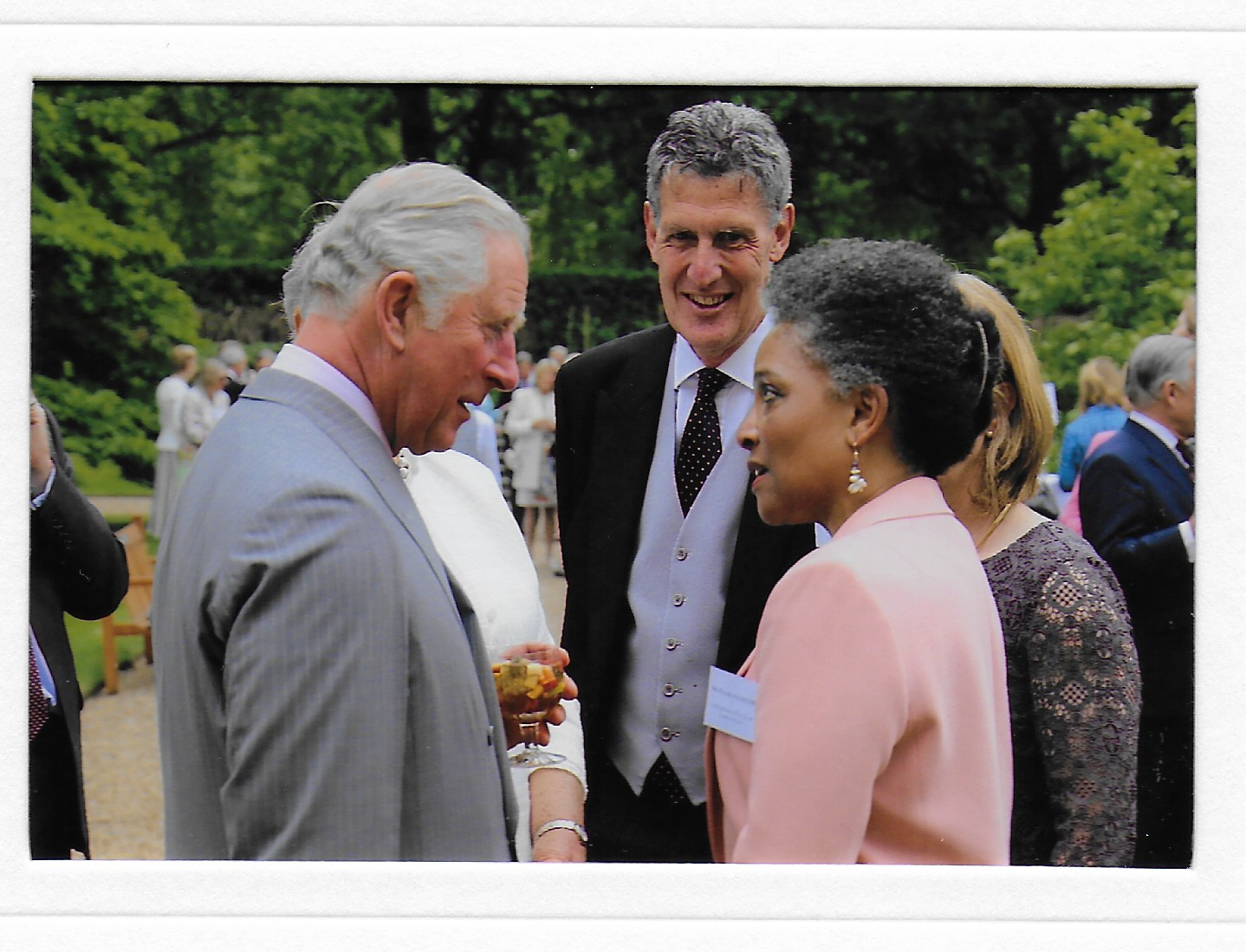 A photograph showing Golding and the Prince of Wales in conversation.
