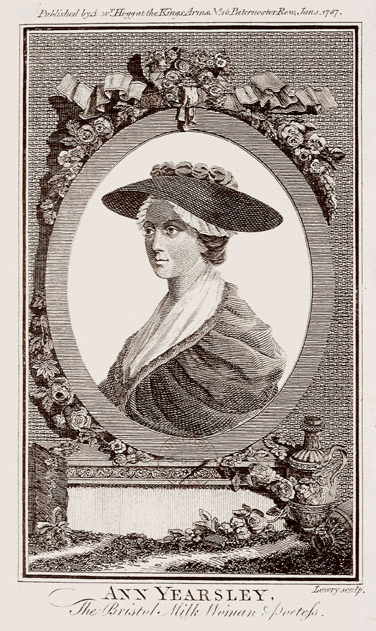 Black and white etching portrait of a woman shown with in a large brimmed hat.