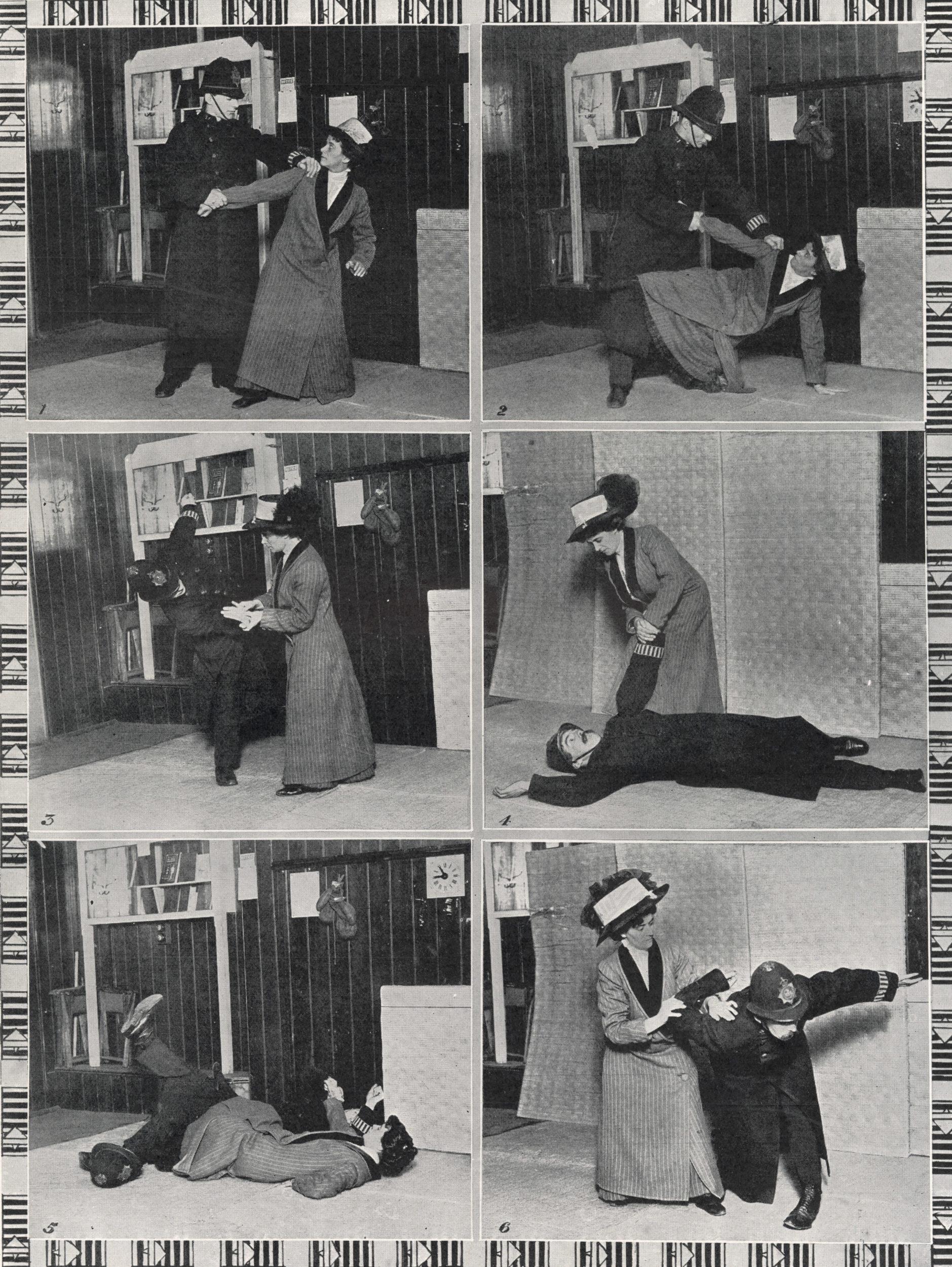Six black and white photographs arranged in a grid on a contact sheet showing Edith Garrud using jiu jitsu to restrain a policeman