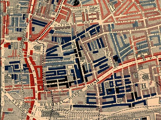 Street map of the Old Nichol area in London. Streets are colour coded in red, light blue and dark blue.
